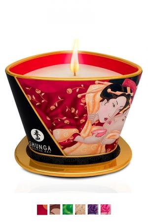 Bougie de massage Shunga (170 ml) : Ce produit unique sert � la fois de chandelle pour cr�er une ambiance parfum�e ainsi qu'une huile � massage.