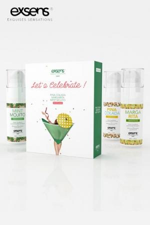 Coffret Let's Celebrate - Exsens : Offrez un cocktail de plaisir à votre partenaire avec ce coffret Exsens de 3 huiles gourmandes et chauffantes.